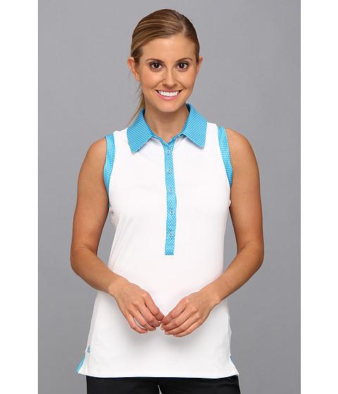 "Bluze adidas - Puremotionâ""¢ Dot Print Sleeveless Polo \14 - White/Solar Blue"