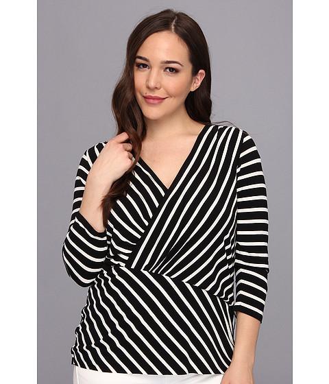 Bluze Vince Camuto - Plus Size 3/4 Sleeve Asymmertrical Retro Stripes Top - Rich Black