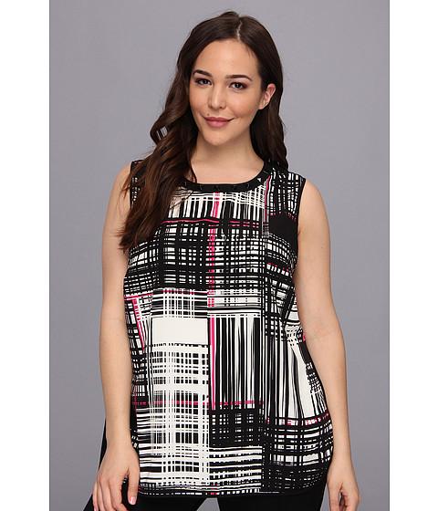 Bluze Vince Camuto - Plus Size S/L Graphic Grid Shirttail Blouse - Rich Black