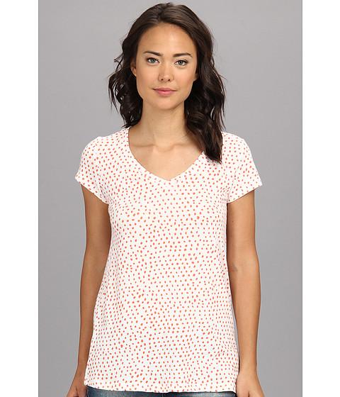 Bluze Alternative Apparel - Printed Basic V-Neck Tee - Eco Ivory Persimmon Haru Dot