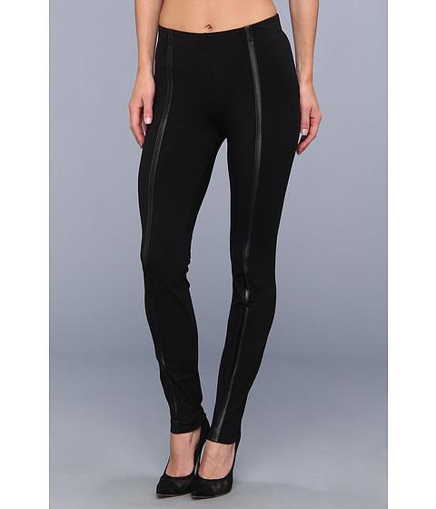 Pantaloni DKNY - Cotton Spandex Faux Leather Strip Legging - Black