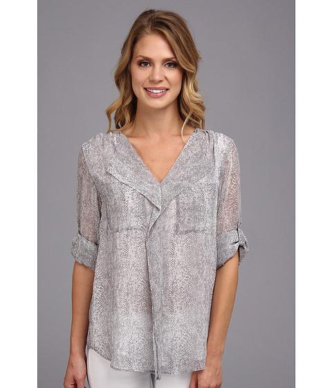 Bluze Calvin Klein - L/S Ruffle Front Top - Grey Combo