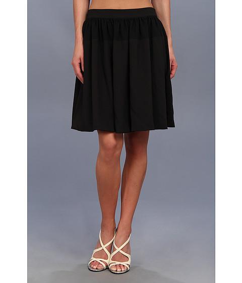 Fuste Calvin Klein - Chiffon Detail Pleated Circle Skirt - Black