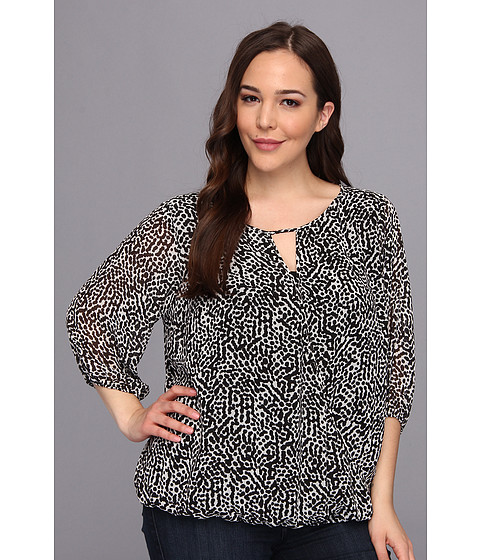 Bluze Vince Camuto - Plus Size 3/4 Sleeve Dotted Terrain Wrap Front Blouse - Rich Black