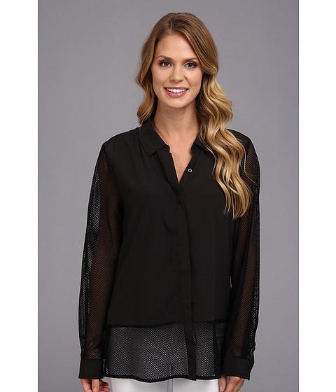 Bluze Calvin Klein - L/S Collar Blouse w/ Mesh - Black