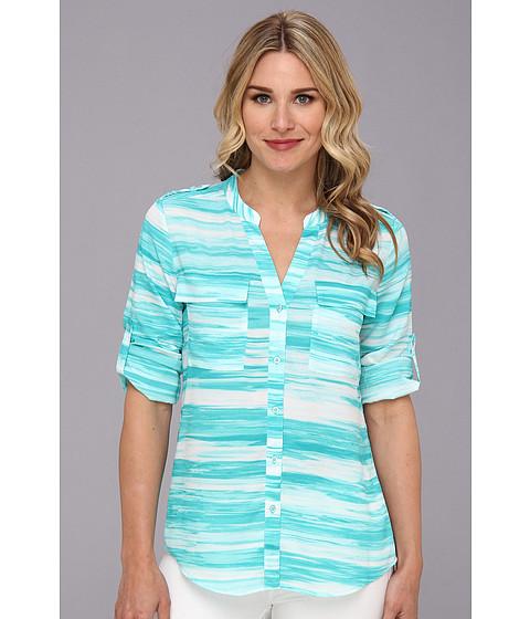 Bluze Calvin Klein - Print Crew NK Roll Sleeve Poly CDC Top - Aqua Multi