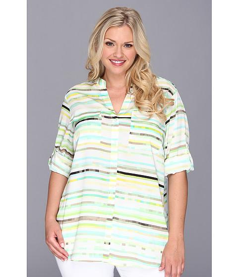 Bluze Calvin Klein - Plus Size Poly CDC Printed Crew NK Roll - Khaki/Aqua