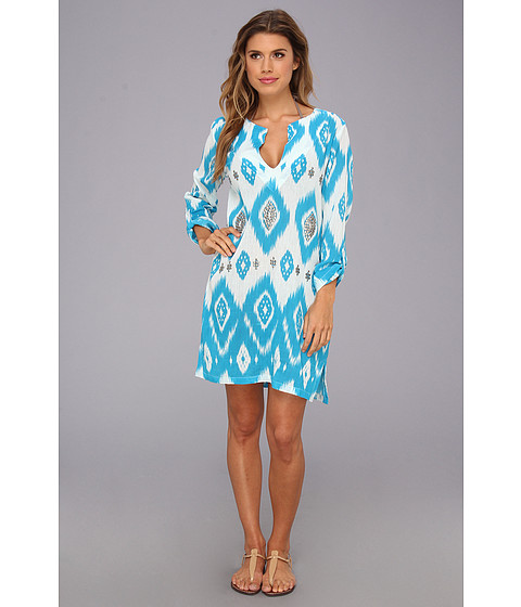 Costume de baie Echo Design - Island Ikat Sequined Tunic - Azure Blue
