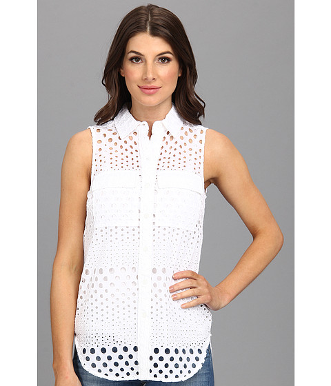 Bluze MICHAEL Michael Kors - Sleeveless Embellished Button Down Shirt - White