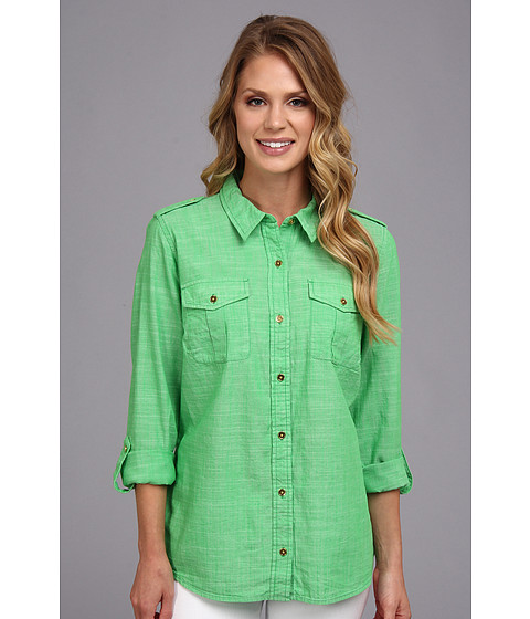 Camasi Jones New York - JNYJ- Roll Sleeve Shirt - Chambray Kelly Green