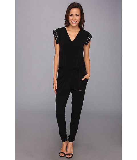 Pantaloni MICHAEL Michael Kors - V-Neck Stud Tie Jumpsuit - Black/Silver