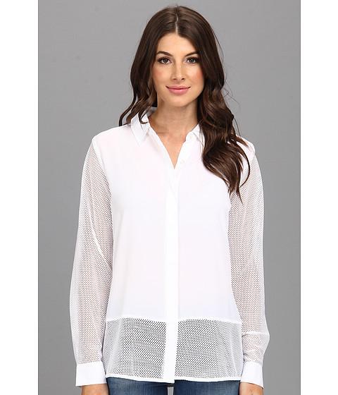 Bluze Calvin Klein - L/S Collar Blouse w/ Mesh - White