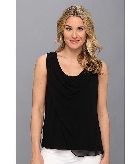 Bluze Calvin Klein - S/L Chiffon Drape Poly Top - Black