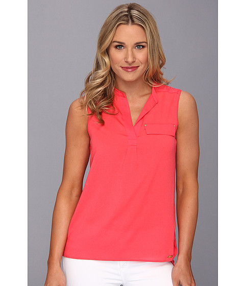 Bluze Calvin Klein - S/L Mixed Media Rayon Spandex Top - Watermelon