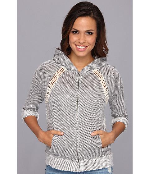 Bluze Lucky Brand - Crochet Zip Hoodie - Light Charcoal