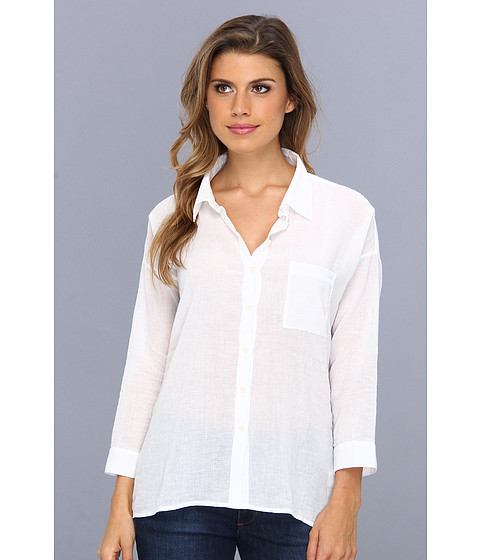 Bluze C&C California - Solid 3/4 Sleeve Voile Shirt - White