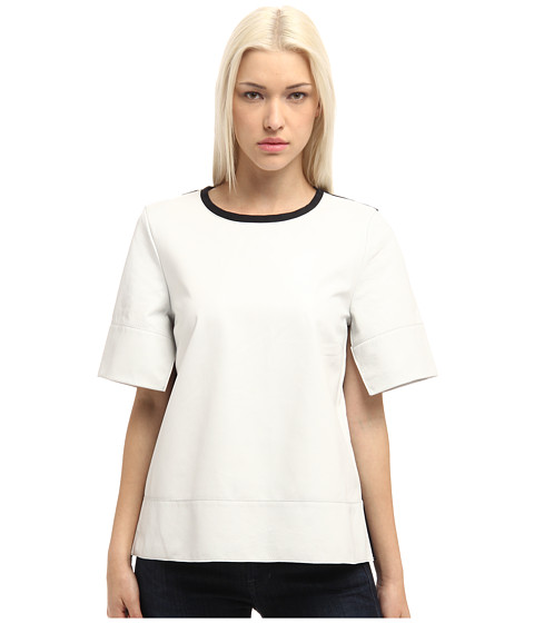 Bluze Tibi - Leather Patch Short Sleeve Top w/ Ponte Combio - White Multi