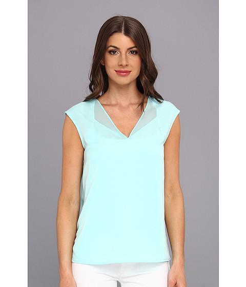 Bluze Calvin Klein - S/L 4 PLY V-Neck Top w/ Chiffon - Aqua