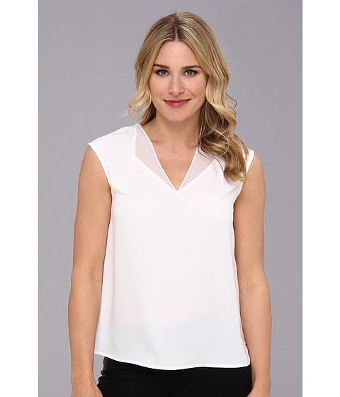 Bluze Calvin Klein - S/L 4 PLY V-Neck Top w/ Chiffon - White
