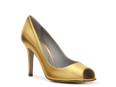 Pantofi Sergio Rossi - Metallic Leather Peep Toe Pump - Gold