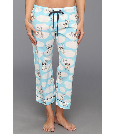 Lenjerie P.J. Salvage - Playful Prints Pugs Crop Pajama Pant - Aqua