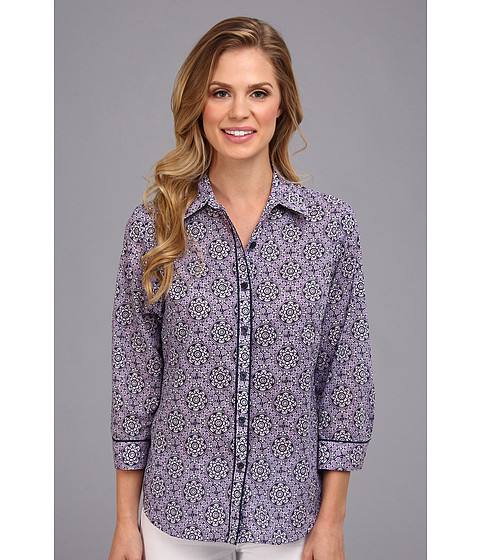 Camasi Jones New York - 3/4 Sleeve Fitted Shirt -  Lilac Combo
