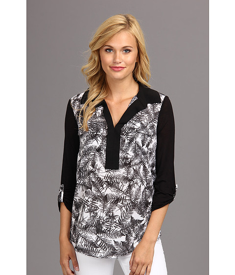 Bluze kensie - Overlapped Ferns Top - Black Combo
