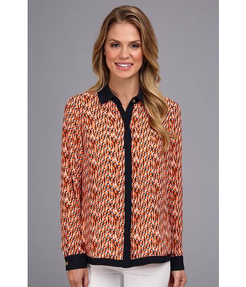 Bluze Jones New York - Long Sleeve Blouse w/ Hidden Placket - Orange Zest Multi
