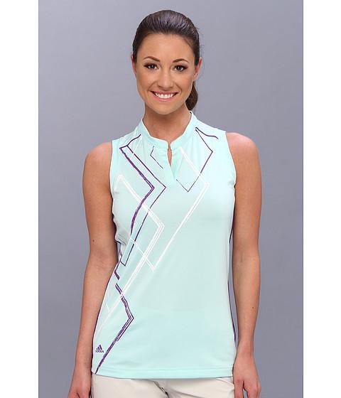 "Bluze adidas - Puremotionâ""¢ Diamond Print Sleeveless Mandarin Polo \14 - Fresh Green/Vivid Purple/White"