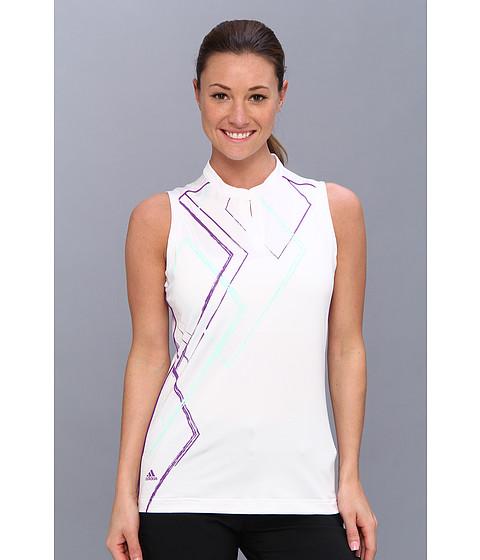"Bluze adidas - Puremotionâ""¢ Diamond Print Sleeveless Mandarin Polo \14 - White/Fresh Green/Vivid Purple"