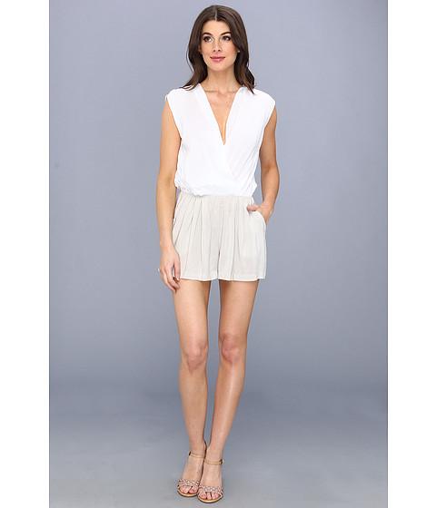 Pantaloni BCBGeneration - Color Blocked Slit Back Shorts Romper TNW9C457 - White Cashew