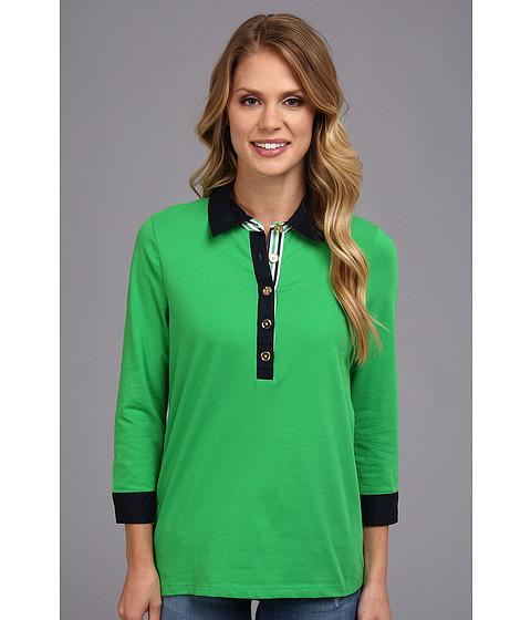 Bluze Jones New York - Elbow Sleeve Polo Shirt w/ Woven - Kelly Green
