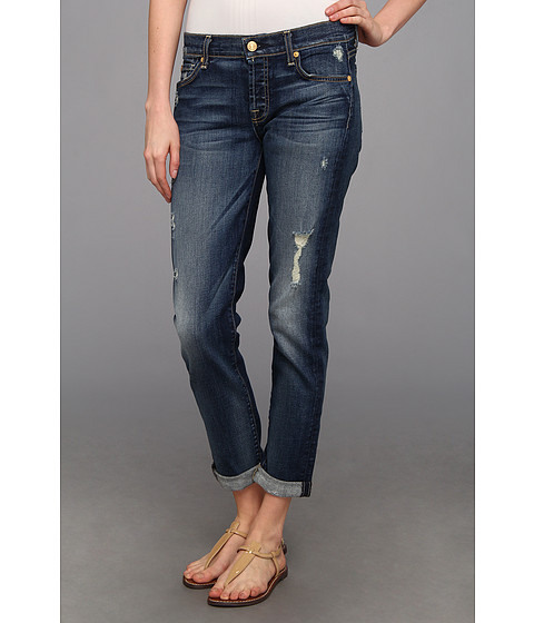 Blugi 7 For All Mankind - Josefina Skinny Boyfriend w/ Rolled Hem & Destroy in Super Grinded Blue - Super Grinded Blue