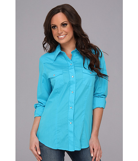 Camasi Roper - 9152C3 Solid Turquoise Broadcloth - Blue