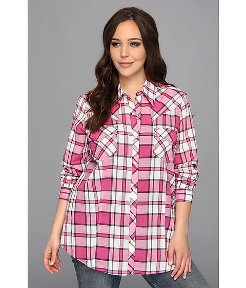 Camasi Roper - Plus Size 8990 Pink Plaid Shirt - Pink