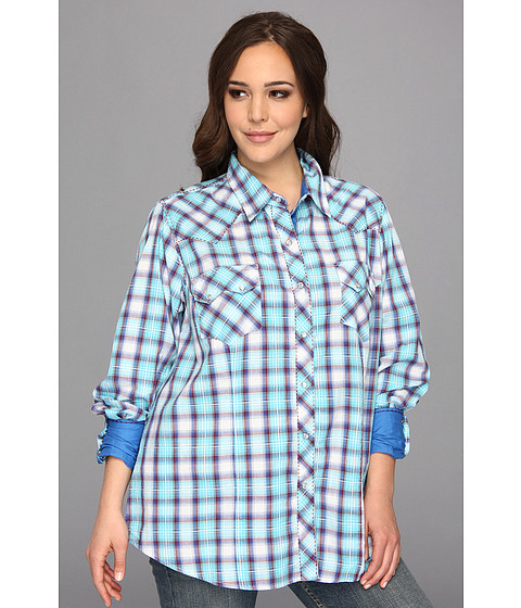 Camasi Roper - Plus Size 9049 Turquoise Plaid - Blue