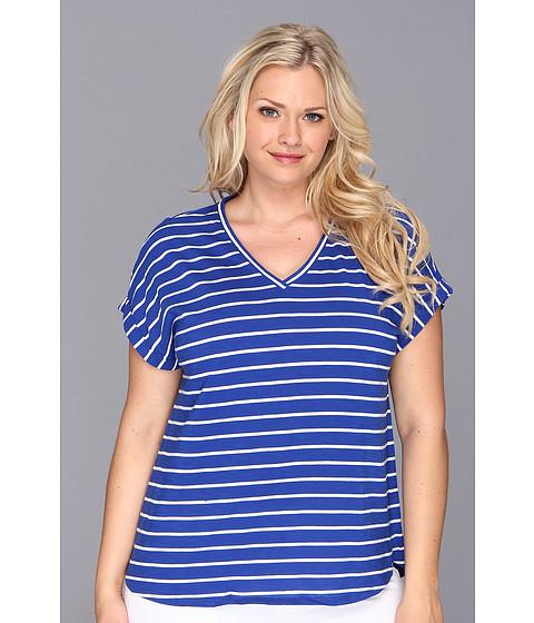 Bluze Vince Camuto - Plus Size S/S V-Neck Pinpoint Stripe Tee - Ocean