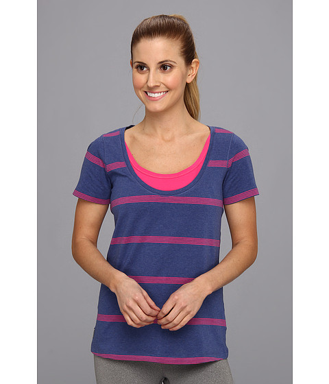 Bluze Lole - Kiss Short Sleeve Scooped Neckline Top - Solidate Blue/Pink Stripe