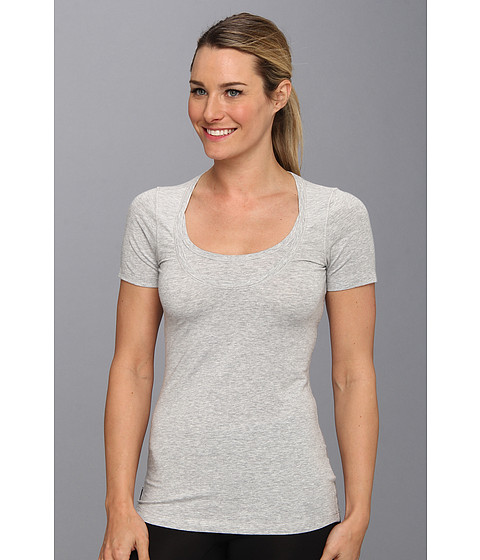 Bluze Lole - Kiss Short Sleeve Scooped Neckline Top - Warm Grey Heather