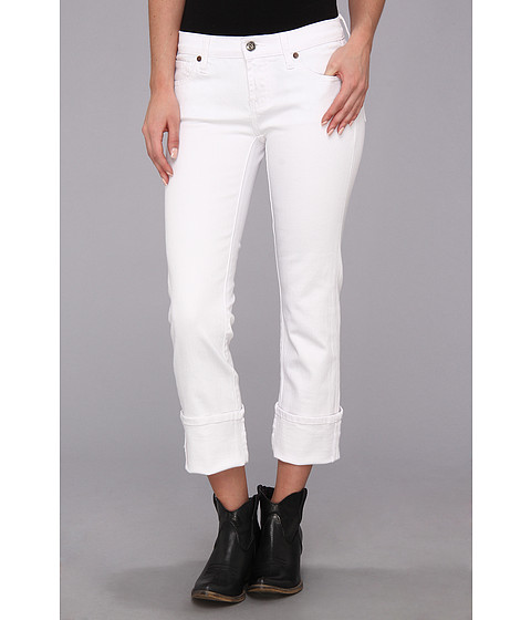 Blugi Stetson - White Stretch Denim Crop Pant - White