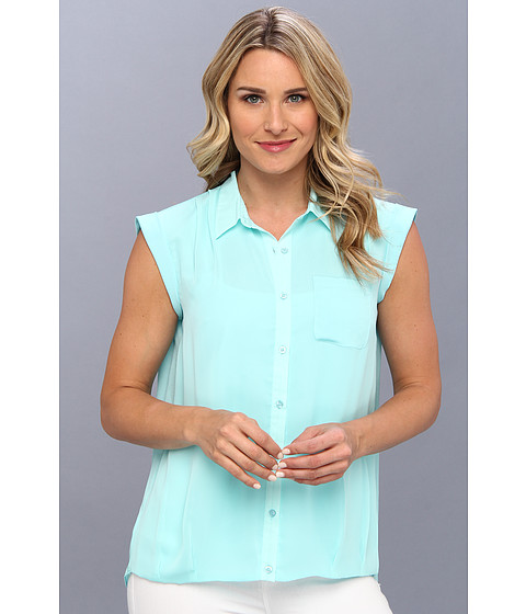 Bluze Calvin Klein - One Pocket Box Polyester Chiffon Top - Aqua