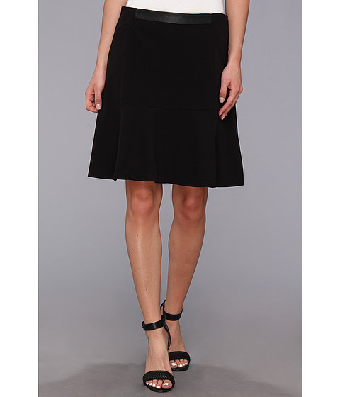 Fuste DKNY - Suiting Flare Skirt w/ Faux Leather WB - Black