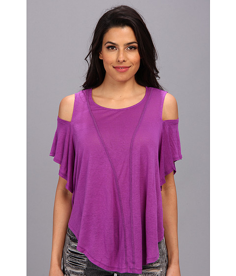 Bluze Free People - Cold Shoulder Seamed Top - Paradise Purple