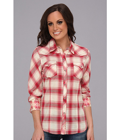 Camasi Roper - 8989 Ombre Plaid Shirt - Red