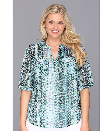 Bluze Vince Camuto - Plus Size Split Neck Folk Geo Shirt - Blue Night
