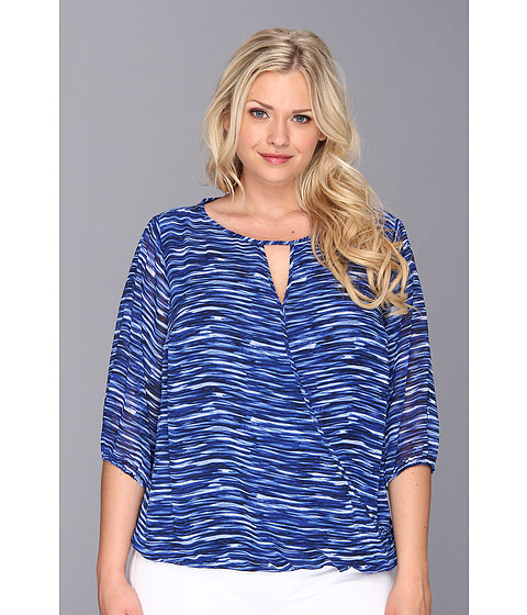 Bluze Vince Camuto - Plus Size Elbow Sleeve Wrap Front River Ripple Blouse - Ocean
