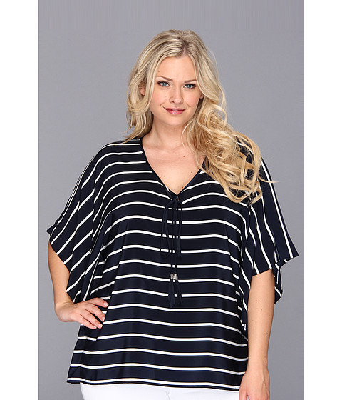 Bluze Vince Camuto - Plus Size Sleek Stripe Caftan - Blue Night