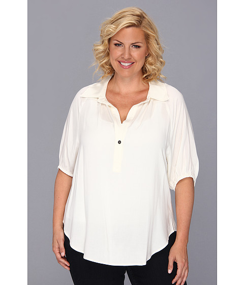 Bluze Karen Kane - Plus Size Blouson Sleeve Top w/ Placket - Cream
