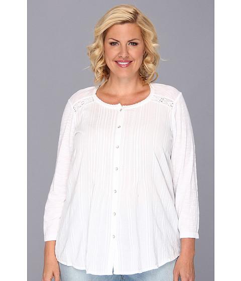 Bluze DKNY - Plus Size Mix Media Cotton Top - White