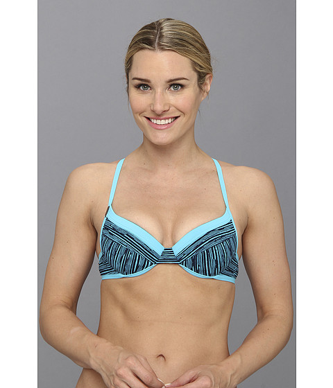 Costume de baie Lole - Kapiti B-Cup Top - Lagoon Blue Wave Stripes